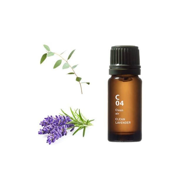 C04 CLEAN LAVENDER Deze geur zuivert de lucht met opwindende bloemige tonen Ingrediënten: Eucalyptus Globulus, Spike Lavender, Niaouli