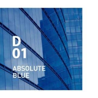 Design air D01 ABSOLUTE BLUE is een geur die de stedelijke levensstijl representeert. Op de preview is de zijkant van een glazen gebouw gezien die de blauwe lucht weerspiegelt.